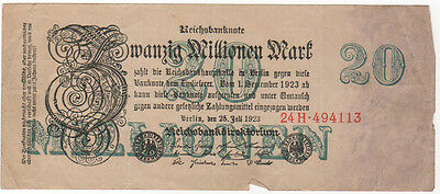 Vintage 1.9.23 German Money 20 Million 20000000 Mark Bank Note (F)