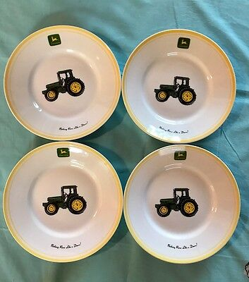 4 (Four) JOHN DEERE Salad Dessert Side Tractor PLATES Gibson Yellow Trim 9""
