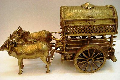 Vintage Style Solid BRASS BULL CART With Rider - BRASS - Indian Cart (880)