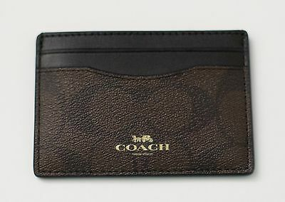 New Coach Signature  PVC Card Case Credit Card Holder Mini Wallet Black 63279