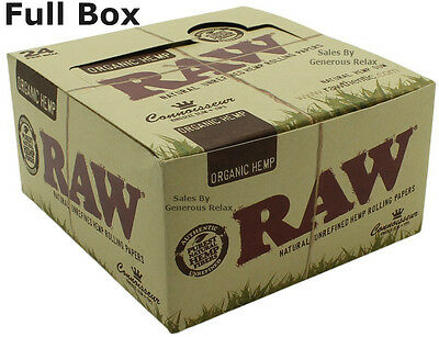 Full Box 24 Raw Organic Hemp Connoisseur King Size Slim Rolling Papers With Tips