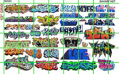 NH101 1/2 Set N SCALE MODERN URBAN GRAFFITI TAGGING for TRAINs AND BUILDINGS