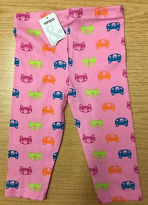 Baby Girl Pink Leggings with Cat Faces detail