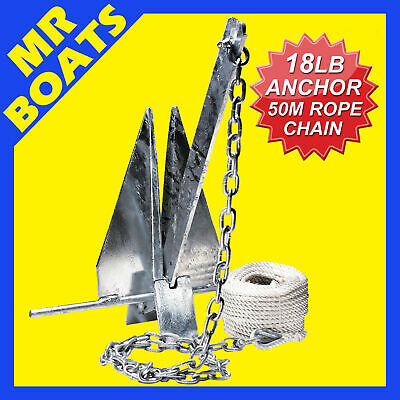 18lb / 8kg - SAND ANCHOR KIT - 4M Gal Chain, 50M x 6mm Rope, 2 x Shackles. Boat