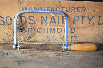 Vintage RJW Australian Made Coping Saw Woodworking Old Tools