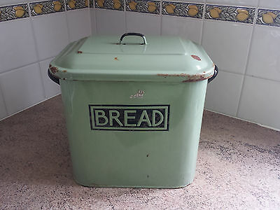 Rare Vintage Green Vitreous Enamel Bread Bin Authentic Accent Lettering 1920s