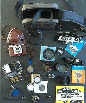 Job Lot Vintage Collector Cameras, Lenses, Filters & Accessories 20++ Untested