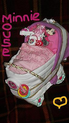 Baby NAPPY CAKE PRAM HAMPER Girl *22 ITEMS* DISNEY MINNIE MOUSE 3-6m CHRISTENING
