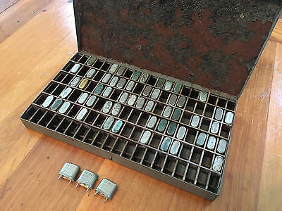 Vintage US Navy Radio Communication Crystal Units in a Metal Case. 50+ Crystals