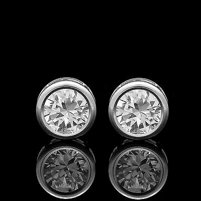 1CT Brilliant Created Diamond Bezel Earrings 14K Solid White Gold Round Studs