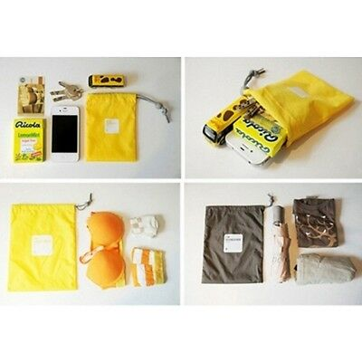 Yellow Waterproof string bags (set of 4) Travel Bag Storage