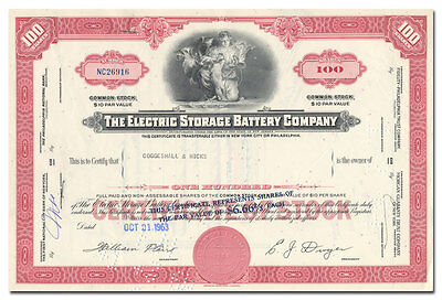 Electric Storage Battery Company Stock Certificate