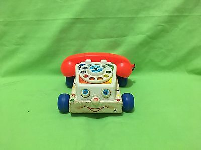 Vintage Rare Fisher Price Pull Toy - 747 PHONE - Built In 1985 Wood Base