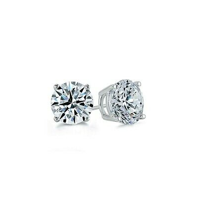 0.50Ct. Brilliant Created Diamond Solitaire Earrings 14K Solid White Gold Studs