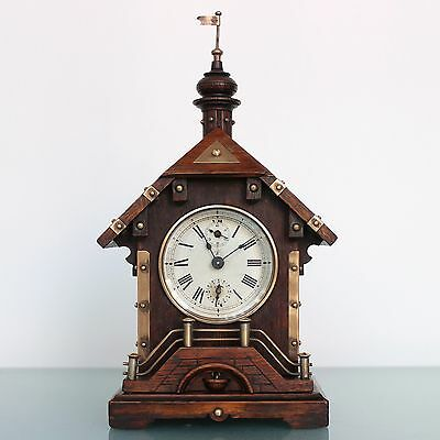 JUNGHANS Mantel Alarm TOP!! Clock 1910's VERY RARE! Castle Shaped Antique German