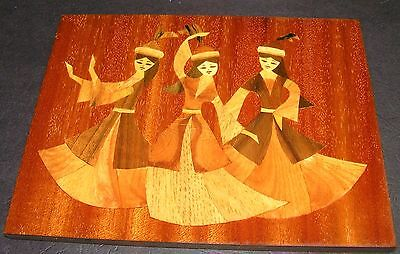 Vintage Authentic Russian 3 Ladies Large Wood Hand Inlaid Exotic Timber Picture