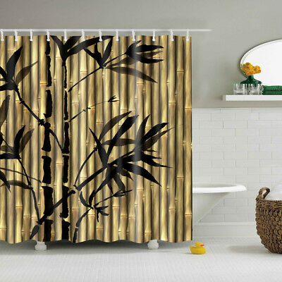Bamboo Theme Shower Curtain Liner with Hooks Ring Set for Bathroom Decor
