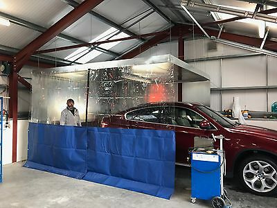 Clear / Blue Car Body Repair Workshop Curtains Weighted Chain Pocket 20Ft X 8Ft