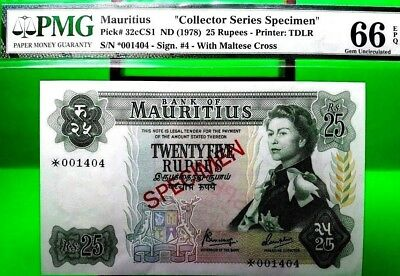 MONEY MAURITIUS 25 RUPEES ND 1978 SPECIMEN PMG GEM UNC PICK #32cCS1 VALUE $640