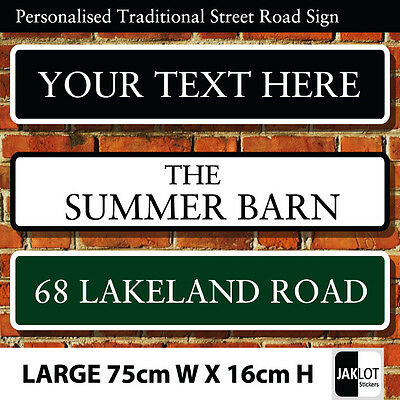 Personalised Traditional Street UK Road Sign, Choice of 3 Colours LARGE