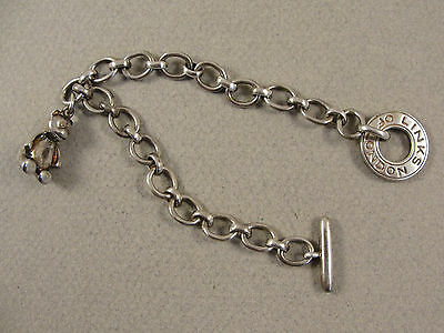 Links of London Solid Silver CHARM BRACELET WITH TEDDY CHARM c1990