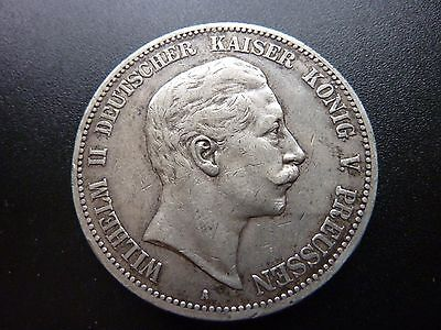 1898 A Wilhelm II Silver 5 Funf Mark Germany Prussia 27.7 g Coin