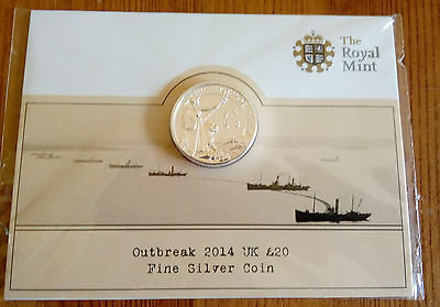 ROYAL MINT Outbreak 2014 UK £20 Fine Silver Coin UK1420FW BRAND NEW WWI 1914-18