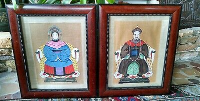 """Antique Chinese Ancestor Painting on Silk Framed 11""""x 14'"""