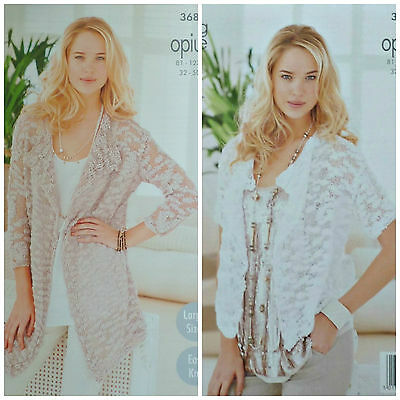 KNITTING PATTERN Ladies Easy Knit Long Jacket & Cardigan Opium King Cole 3682