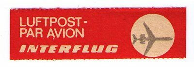 Interfflug Airlines - Scarce Old 1980 Airmail Label Cat #gdr-B-4 (Am18)