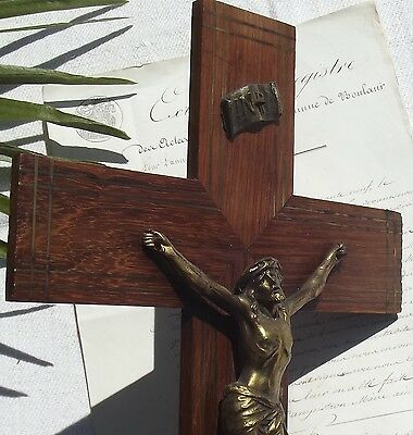 Large Antique French Cross Wood Wall Crucifix Church Wooden Plaque