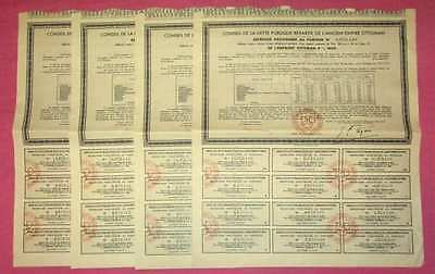 Lot 4 obligations Dette Publique Ancien Empire Ottoman, de 1933, avec coupons