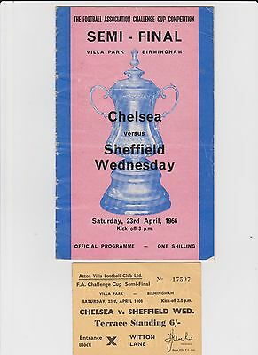 1966 FA CUP SEMI-FINAL PROGRAMME + 3 TICKETS - CHELSEA v SHEFF WEDNESDAY