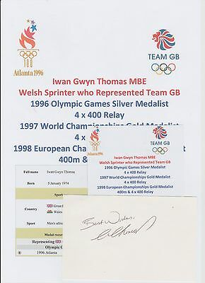 Iwan Thomas Welsh Sprinter 1996 Olympic Silver Medal Original Hand Signed Card
