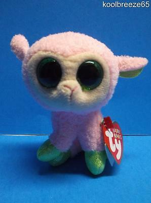 """Ty Beanie Boos BABS Basket Beanie Pink Lamb 2014 Hang Tags Easter New 3"""""""