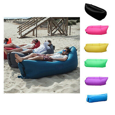 UK Lazy Lounger Fast Inflatable Air Bed Sofa Hangout Pool Camping Beach Lay+ Bag