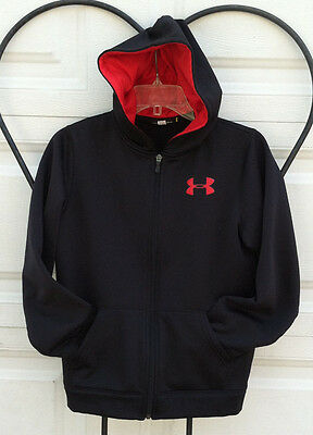 Under Armour Youth YLG zip up hoodie hooded sweatshirt Black With Red
