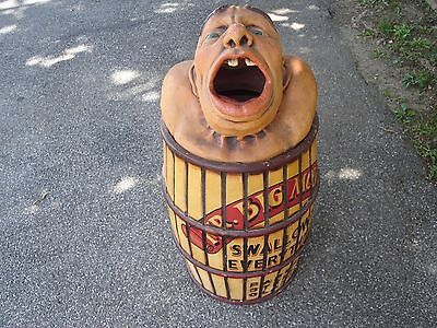 Vintage Mr Big Mouth Garbage Can Circus Sideshow Carnival Amunsement Park 1940s