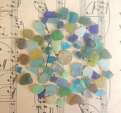 60 English Sea Glass Pieces Mosaic Rare Blue Grey Yellow Multi Turquoise Teal