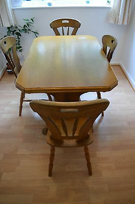 Solid Baltic Oak Extendable Dining Table and 6 Chairs