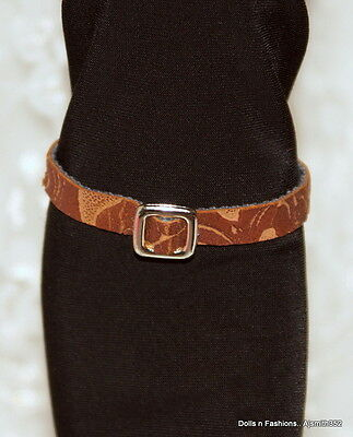 Barbie Doll & Friends Fashion Faux Brown & Tan Style Belt with Silver Buckle
