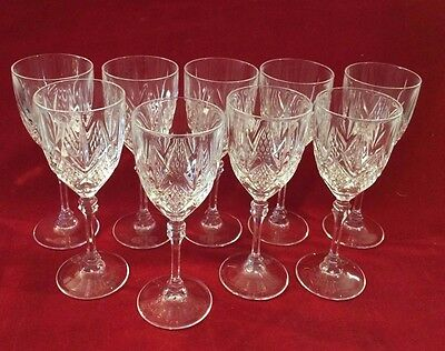 "Cristal D'Arques  Lead Crystal Wine Stems Goblets 6"" Lot of 9 Goblets"