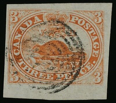 Canada 3-Penny Beaver very thin paper Orange vermilion. #4 or variation of #1 XF