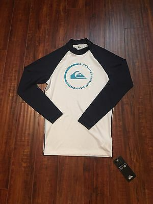 NWT ~ QUIKSILVER Men's Every Day LS Navy Blue/White UV Tech Rash Guard -Size M