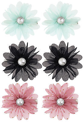 Capelli Girls 6-pc. Flower Hair Clip Set One Size Mint green/black/pink