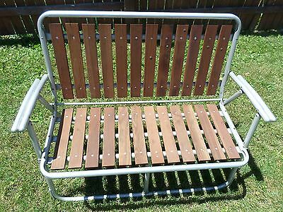 Aluminum Redwood Folding Loveseat Camping Camp Patio Lawn Chair