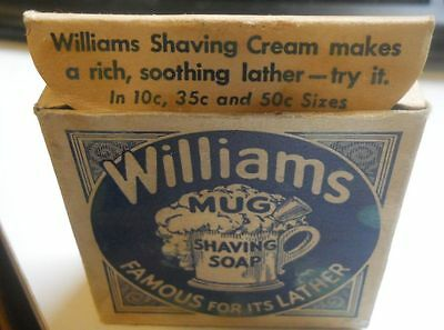 "Vintage ""Williams Mug Shaving Soap""  J.B.Williams Co. Unused"