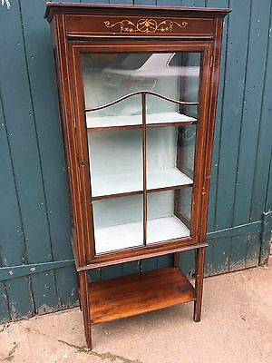 Antique Edwardian Mahogany and Line Inlaid Glazed China Display Cabinet With Key