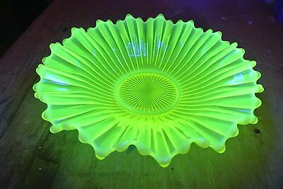 Canary Opalescent Vaseline Glass Bowl