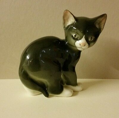 Lomonosov Russian Porcelain Rare Black & White Cat Kitten Ornament